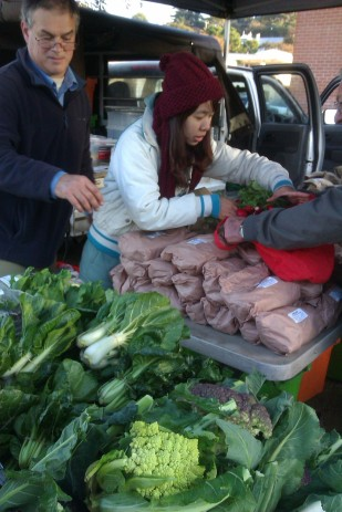 Lin, new arrival from Taiwan helping Andrew at Albany Farmers Market