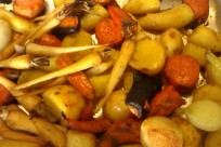 Easy roast vegetables with rainbow carrots, Hamburg parsley, Delaware potato and onions.